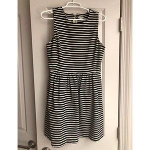 J Crew Peplum B&W Striped Dress